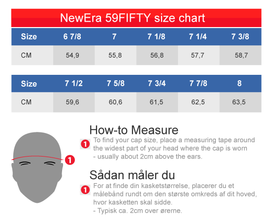 NewEra 59Fifty NFL Europe Caps Size Chart Centimeter