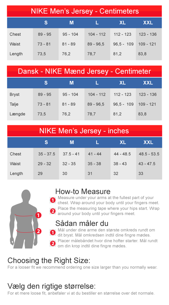 NFL Fan Gear European Size Chart for Nike NFL jerseys