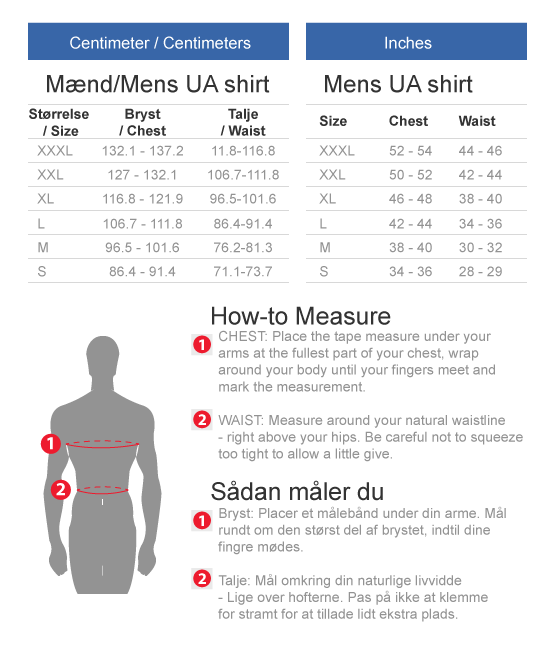 Under Armour Shirts size chart